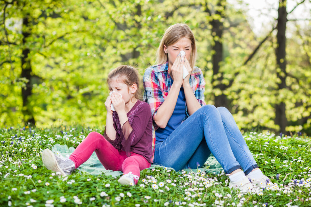 Mom and daughter with seasonal allergies